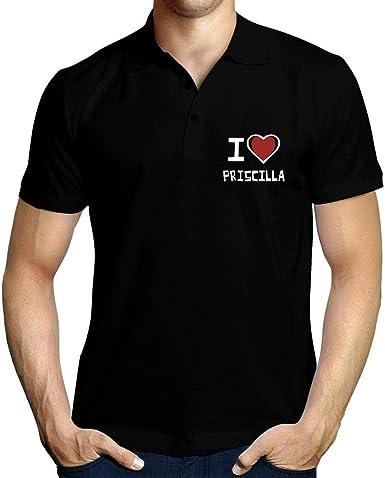 Idakoos I Love Priscilla Bicolor Heart Polo Camisa: Amazon.es ...
