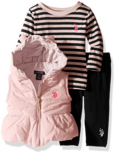 U.S. Polo Assn. Baby Girls' 3 Piece Puffer Vest, Long Sleeve Top, and Legging Set
