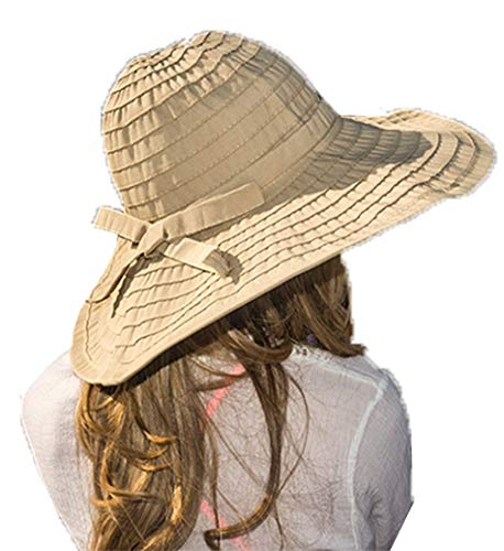 Women's Wide Brim Packable Sun Travel Hat for Large Heads - Ginger (X-Large, Beige)