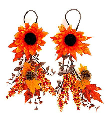 """Teardrop Swag with Sunflower Berries For Harvest Fall Thanksgiving 19"""" x 9"""" Set of 2 (Sunflower)"""
