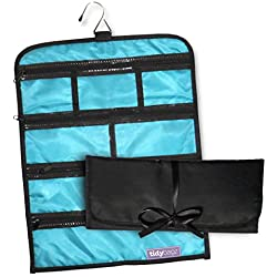Tidybagz Jewelry Roll Bag Travel & Home Organizer Safe Zippered 7 Compartments Large
