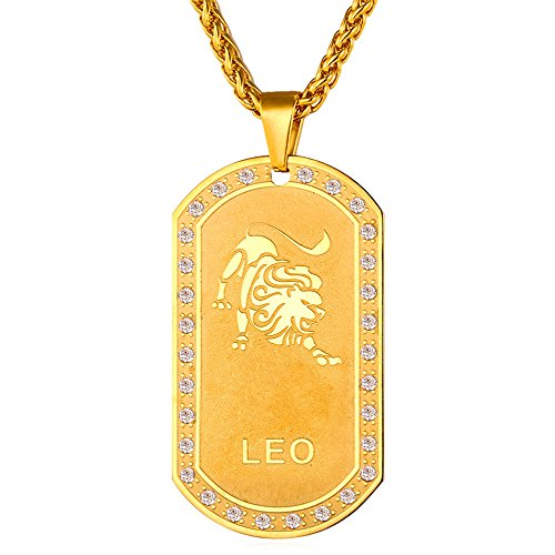 Leo Zodiac Sign Traits Dog Tag Necklace Pendant Stainless: U7 Jewelry Stainless Steel/18K Gold Plated Chain Dog Tag