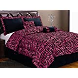 7-Piece HOT PINK Micro Fur Zebra Design Comforter set Patchwork Bed-in-a-bag, (Double) Full Size Bedding