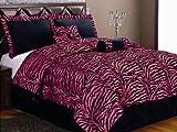 zebra comforter full size - 7-Piece HOT PINK Micro Fur Zebra Design Comforter set Patchwork Bed-in-a-bag, (Double) Full Size Bedding
