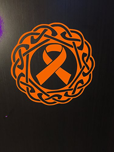 Orange Awareness Ribbon Celtic Knot Window Decal (Kidney Cancer, Kidney Disease, Lukemia, Melanoma, Multiple Sclerosis, Skin Cancer)