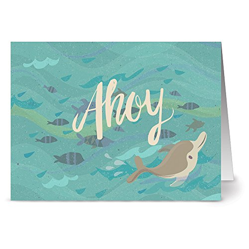 24 Note Cards - Ahoy Dolphin - Blank Cards - Kraft Envelopes Included]()