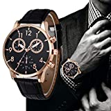 Bokeley Big Watch Retro Design Leather Band Quartz Sport Wrist Watch Men (Black)
