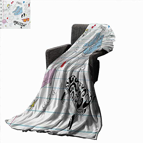 Doodle Lightweight Blanket Notebook Design with a Variety Drawings Funky Skateboard Shooting Star,Super Soft and Comfortable,Suitable for Sofas,Chairs,beds