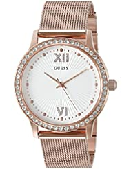 GUESS Womens Stainless Steel Crystal Mesh Bracelet Watch, Color: Rose Gold-Tone (Model: U0766L3)