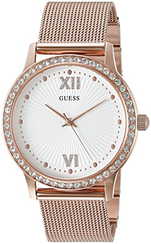 GUESS Women's Stainless Steel Crystal Mesh Bracelet Watch, Color: Rose Gold-Tone (Model: U0766L3) (Bracelet Guess Steel)