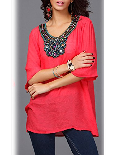 Femme T Broderie Blouse Large Rouge Haut Col Casual Shirt ZiXing Tunique Top Manches Courtes Rond 5qHTXdn