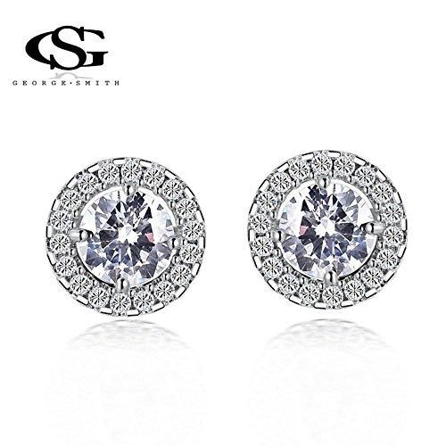 G&S Platinum Plated Big Cubic Zirconia Earrings Charm Stud Handmade Gift for Women Girls Wife