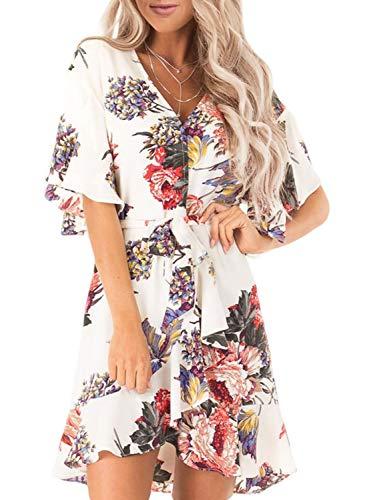 (Dokotoo Womens Summer Soft Fashion Boho Sundress Casual Floral Print V Neck Short Ruffle Sleeve Wrap Flowy A Line Midi Skater Dress White Medium)