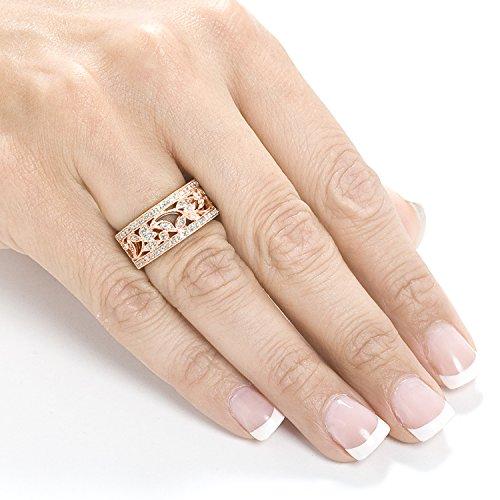 Style vintage Diamant Mode Floral Band 1/4carats (CT) en or rose 14K _ 4.0