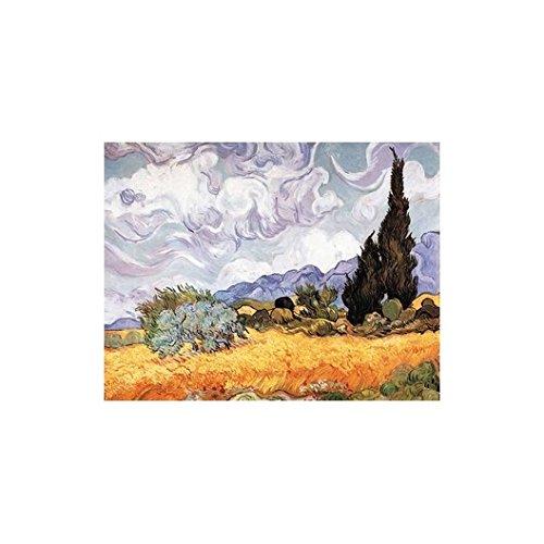 Puzzle aus handgefertigten Holzteilen - Vincent Van Gogh: Kornfeld mit Zypressen