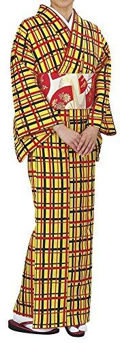 踊り衣裳 反物 野印 一越小紋 黄色×赤×黒 レディース 洗える着物