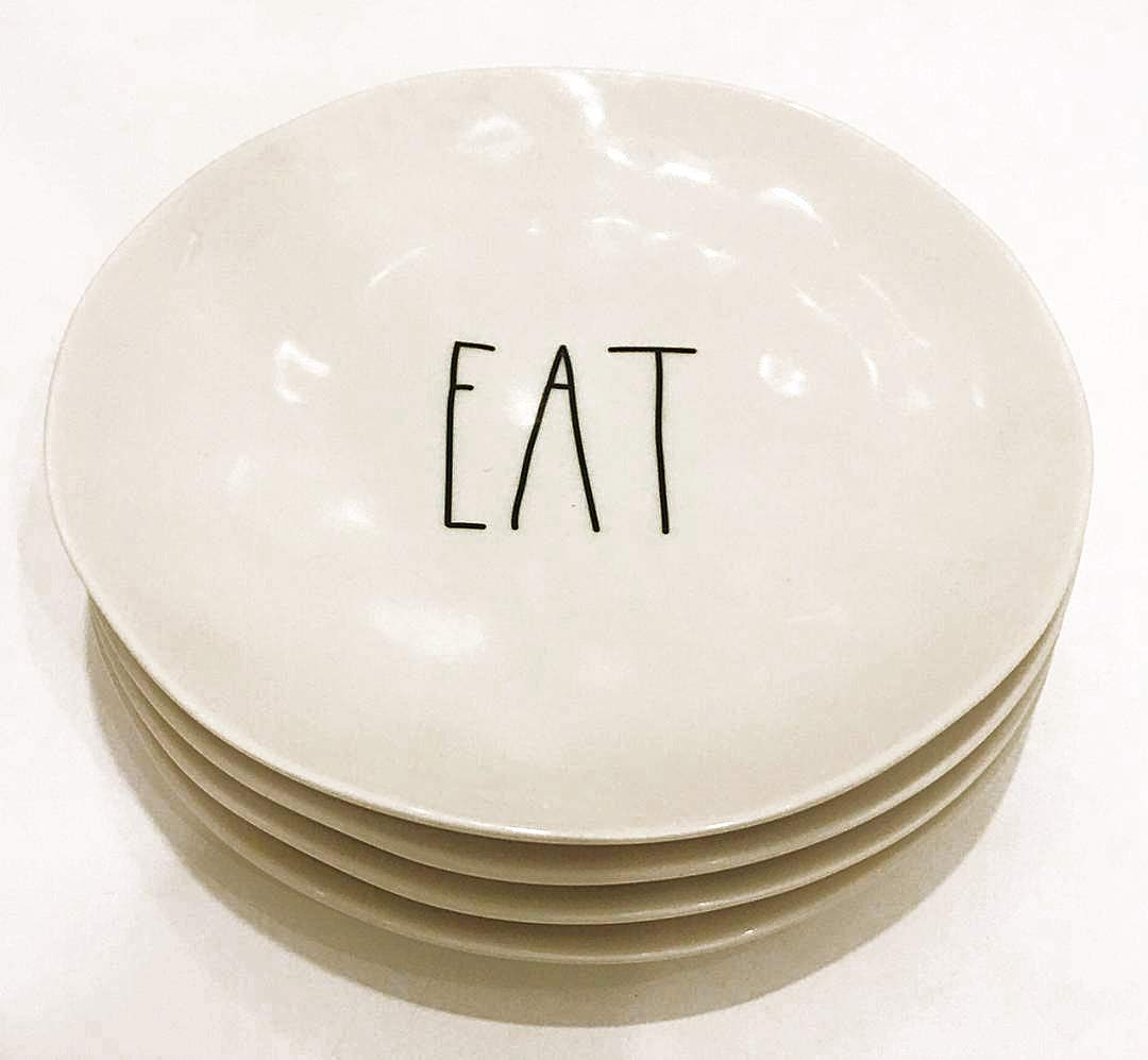 Rae Dunn by Magenta Set of 4 Melamine EAT Salad//Luncheon Plates Diameter 8