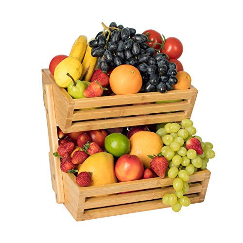 - 2-Tier Bamboo Fruit Basket, Fruit Stand for Kitchen Countertop, Vegetable Produce Bread Storage Holder, Fruit Not Included