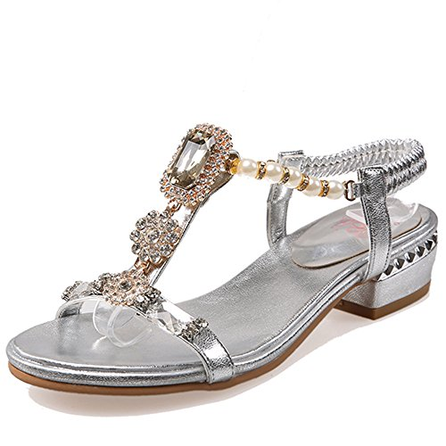 Fashion Heel Womens Chunky Heel Open Toe Slingback Sandal with Rhinestones and Pearls Silver