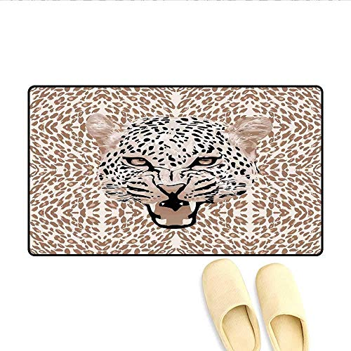 - YGUII Door Mats Roaring Leopard Portrait with Rosettes Wild African Animal Big Cat Graphic Customize Bath Mat with Non Slip Backing Cocoa Beige Black 16X23.6in (40x60cm)