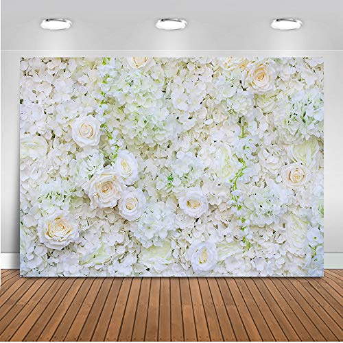 (Mehofoto Wedding Floral Wall Backdrop Valentine's Day Flower Wall Photography Background 7x5ft Vinyl White Flowers Wedding Party Backdrops)