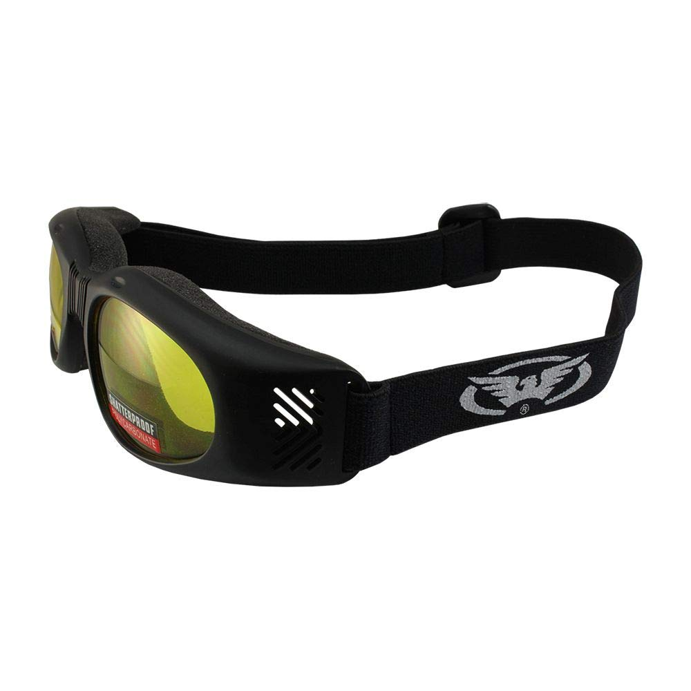 Air Jacket Foldable Padded Sport Riding Goggles Matte Black Frame Yellow Tint Lenses