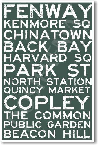 Boston Signs - NEW World Travel Massachusetts Train Poster
