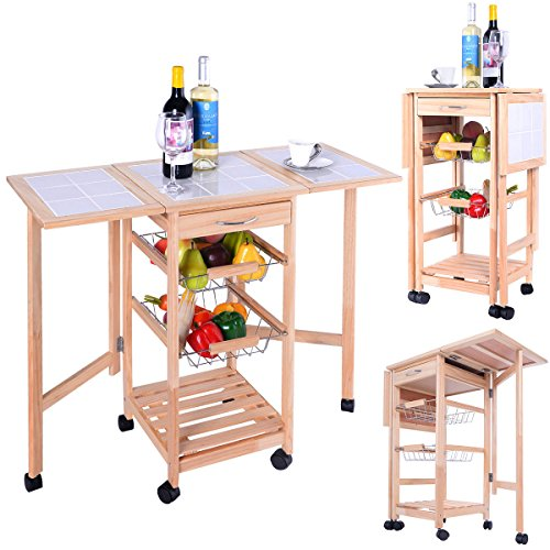 Kitchen Trolley Cart Storage Rolling Drawers Rack Dining Shelf Tier Utility Table Basket Wooden