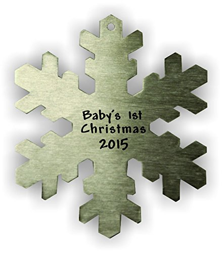 (Baby's 1st Christmas 2015 Snowflake (Thick) Ornament)
