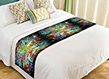PicaqiuXzzz Custom Graffiti Brick Wall Colorful Bed Runners And Scarves Bed Decoration 20x95 inch