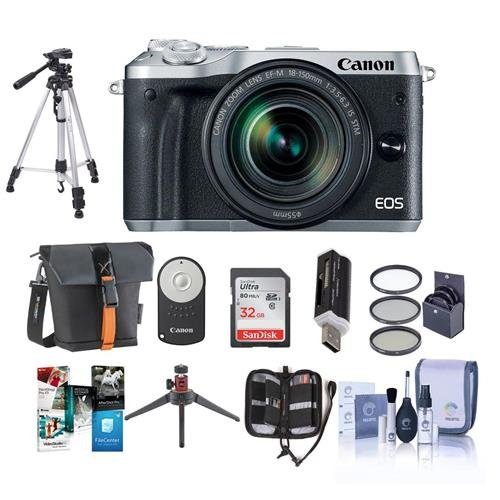 Canon-EOS-M6-Mirrorless-Digital-Camera-Silver-with-EF-M-18-150mm-f35-63-IS-STM-Lens-Bundle-with-Holster-Case-32GB-SDHC-Card-Tripod-Remote-Controller-55mm-Filter-Kit-Software-Package-And-More