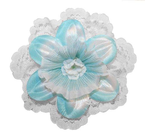 (Webb Direct 2U Girls Daffodil & Lace Hair Bow Allligator Clip Blue (G6008A))
