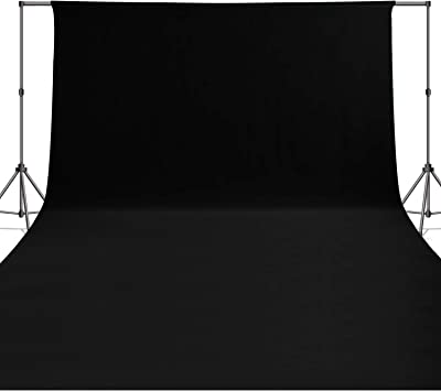 Issuntex 5X7 ft Black Background Muslin Backdrop,Photo Studio,Collapsible High Density Screen for Video Photography and Television