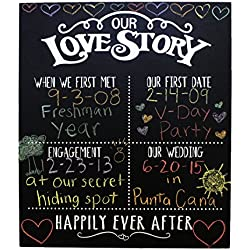 JennyGems - Our Love Story Chalkboard - First Met - First Date - Engagement Party - Wedding - Anniversary - Happily Ever After - Photo Shoot Prop - Dry Chalkboard Use With Actual Dry Chalk - Do Not Us