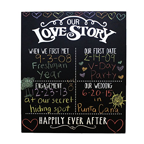 JennyGems - Our Love Story Chalkboard - First Met - First Date - Engagement Party Decor - Wedding - Anniversary - Happily Ever After - Photo Shoot Prop - Wedding Signs -