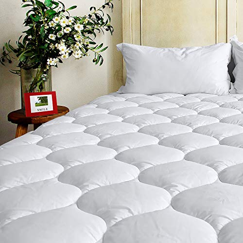 BEL TESORO Quilted Extra Plush Mattress Pad (King) Combed Cotton Filled Cooling Mattress Topper Stretches Up to 8-21