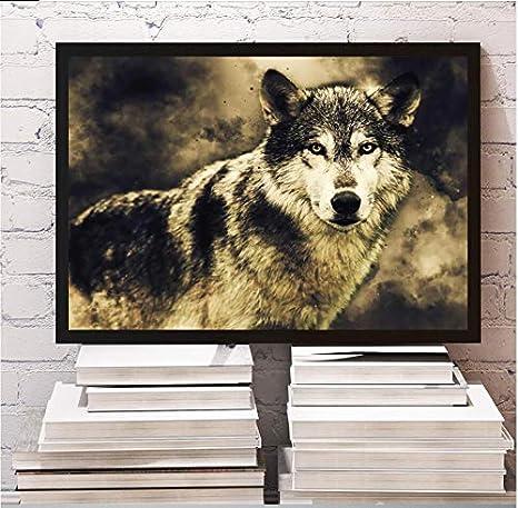 SDFSD León Lobo águila Caballo Leopardo nórdico Carteles e Impresiones Pared Arte Lienzo Pintura Animal Pared Cuadros para Sala de Estar decoración del hogar50x70cm