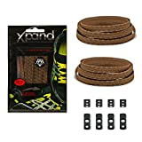 Xpand No Tie Shoelaces System with Reflective Elastic Laces - Brown - One Size Fits All Adult and Kids Shoes