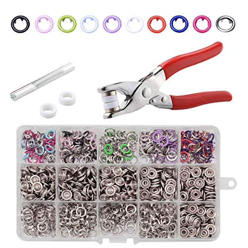 (CHEPULA 200 Sets 9.5mm Metal Snaps Buttons with Fastener Pliers Press Tool Kit for for Sewing and Crafting (10 Colors))