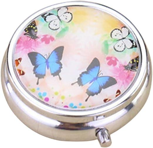 SUPVOX 1pc Caja de Pastillas pequeña Vintage Floral Mariposa Organizador de píldoras Redondas 3 Ranuras de la Caja única de la Medicina para el Bolsillo o Monedero: Amazon.es: Hogar