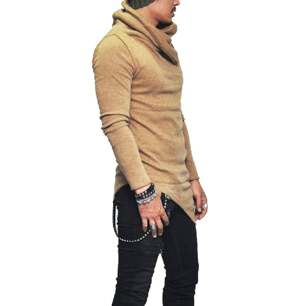 Comaba Men Long-Sleeve Solid-Colored Funnel Neck Relaxed Blouse T-Shirt Tops