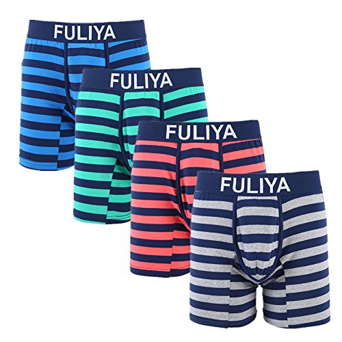 Fuliya Striped Men Boxer Briefs Soft Cotton Extended Leg Boxer Underwear Underpants (Tag XXL_US Large, Gray Blue Green Red)