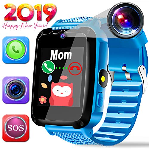 Kids Smartwatch Best GPS Tracker 3-12 Year Old Boys Girls Child Phone Watch with Digital Camera Touchscreen SOS Games Children's Sports Smart Wrist Electronic Learning Toys Holiday Birthday Gifts