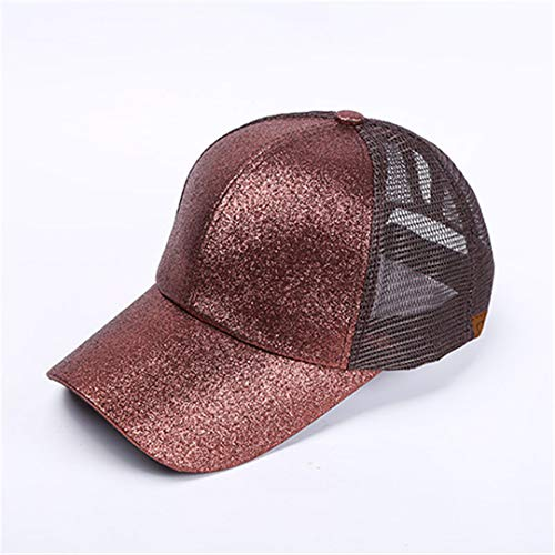 DSFEWRD Glitter Ponytail Baseball Cap Women Hat Summer Messy Bun Mesh Hats Casual Adjustable Sport Caps Coffee 2 with tag ()