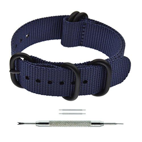 26mm Navy Blue Zulu NATO Nylon Watch Strap Bands Fabric Heavy PVD Buckle