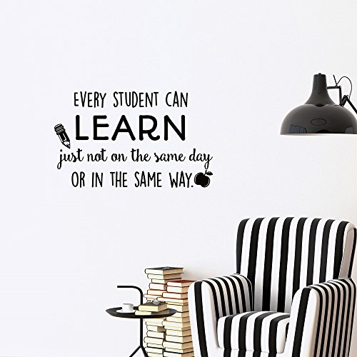 Education Wall Decal Quote Every Student Can Learn Just Not on the Same Day or in the Same Way- Wall Decals Educational Quotes Teacher Classroom Playroom Kids Children Wall Art Home Decor Q208 by FabWallDecals