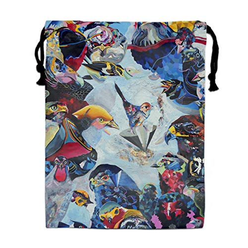 Graffiti Birds Drawstring Bag/Shoes Underwear Makeup Laundry Storage Pouch Bags Organizers 11.8 × 15.7
