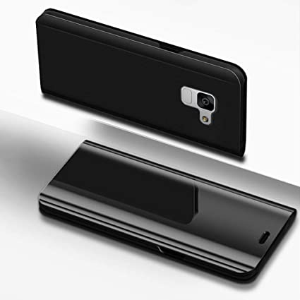 IKASEFU Compatible with Samsung Galaxy S10e Case PU Leather Electroplate Plating Stand PC Mirror Flip Folio Cover Protective Ultra Slim Thin Full Body Protective Case,Black