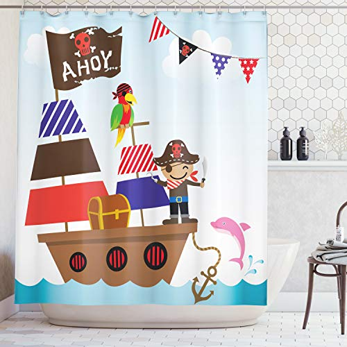 Ambesonne Ahoy Its a Boy Shower Curtain, Cute Pirate Kids Treasure Chest with Ship on Ocean Background Illustration, Fabric Bathroom Decor Set with Hooks, 70 Inches, Blue Brown -