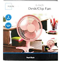 Mainstays 6-Inch Desk/Clip Fan - Pearl Blush